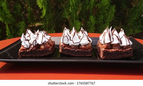 Close capture of three delicious brownies in line