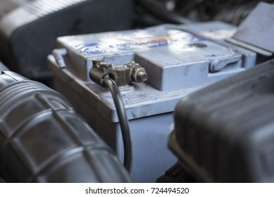 Close up of car battery connector
