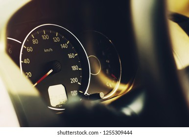 close up car dashboard speedometer