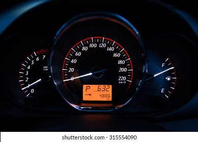 Close up of car dashboard and Trip Odometer.