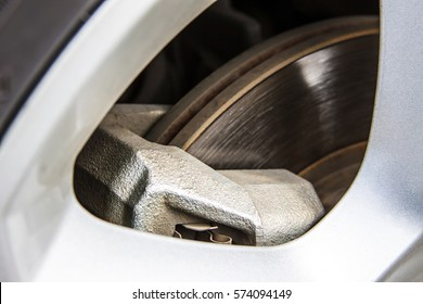 Close up of car disk brake