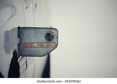 close up car fuel tank with text diesel fuel only, copy space background, transport and business concept