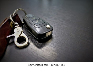 Close up car key put on the table