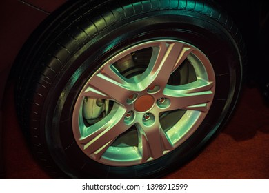 Close up car mag wheel. Magnesium alloy wheel.
