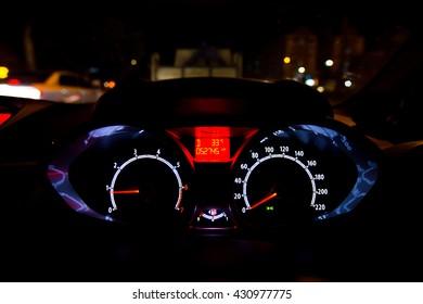 Close up of car meter