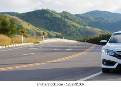 Close up car on the road,Honda Civic on the road on date 3-Jan-2019 at Chiang Khong city and Chiang Rai province Thailand.