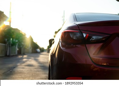 close up car on street automotive roadtrip on sunset background for transport, travel of nature to vehicle auto landscape light the sun for travel journey trip summer and lifestyle