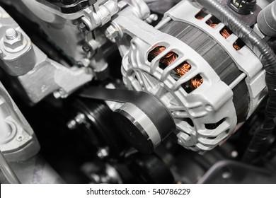 Close up of car timing belt in modern car.