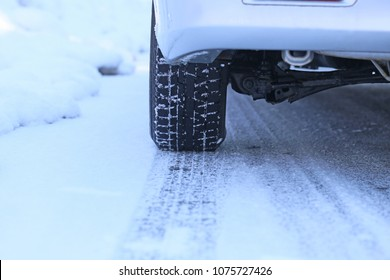 Close up of car tires in winter