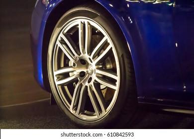 Close up of car wheel on a car