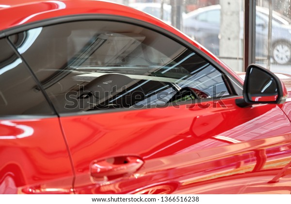 Red Window Tint >> Close Car Window Tint Ceramic Film Stock Photo Edit Now