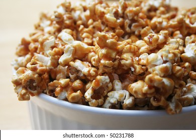 Close up of Caramel Popcorn in a White Bowl
