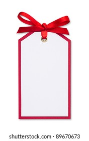 close up of card note with red ribbon on white background