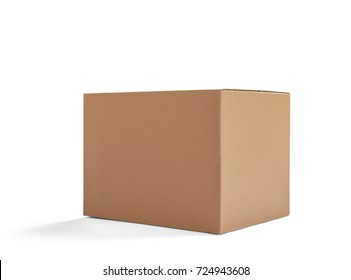 close up of  a cardboard box on white background - Shutterstock ID 724943608