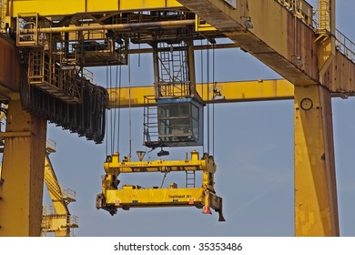 Close up of a cargo container crane at Hamburg(Germany) harbor