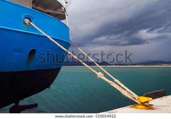 Close Cargo Ship Fixed Rope Bollard Stock Photo (Edit Now