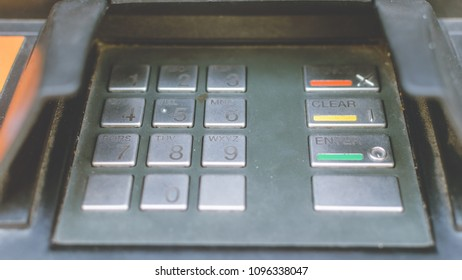 Close up of Cash Machine Keypad A, Keyboard of British ATM Machine Shallow Depth of Field