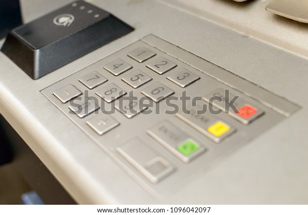 Close up of Cash Machine Keypad B, Keyboard of British ATM Machine Shallow Depth of Field