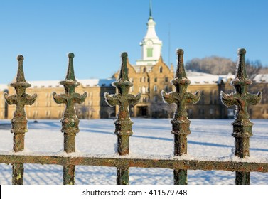 Close up of cast iron railings outside Trans-Allegheny Lunatic Asylum in Weston, West Virginia, USA