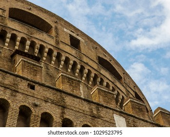 close up of Castel Sant'Angelo photographed from the outer side. Rome_Italy