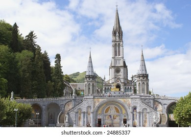 Close up of the Cathedral of Lourdes in France during the Jubilee way...150th Anniversary of the Apparitions