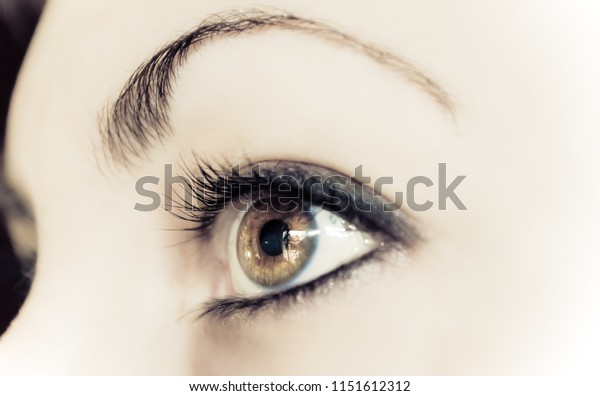 Close up of a caucasian woman's eye.  Face is so smooth she looks like a robot or cyborg.