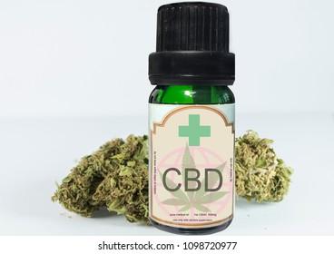 close up of CBD oil and medical marijuana