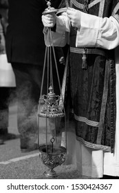 Close up of a censer in a procession, Holy Week