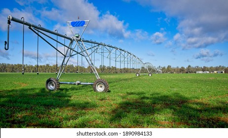 Close up of centre-pivot irrigation in field
