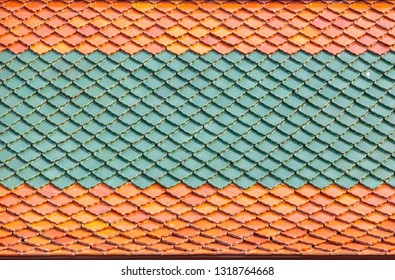close up ceramic pattern on roof top for background