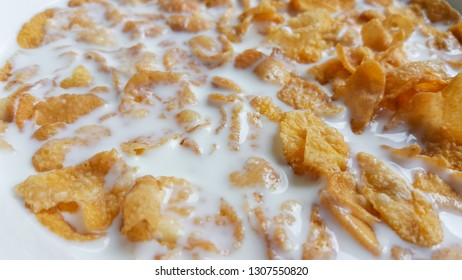 Close up cereal with fresh milk.