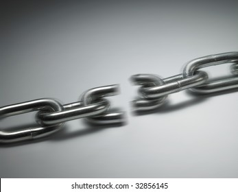 close up of the chain breaking of pulling