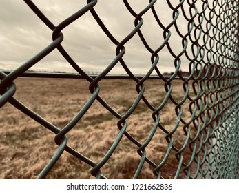 Close up of a chainlink fence with grassland behind it.