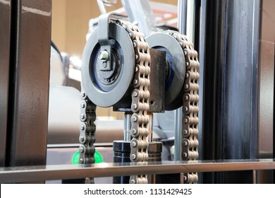 Close up of Chains in forklift truck