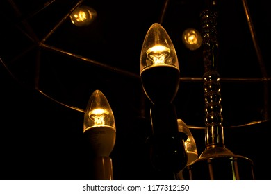 Close up of chandelier lights