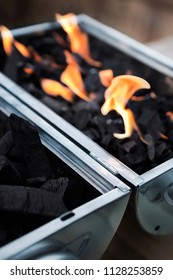 Close up of charcoal and fire for a grill