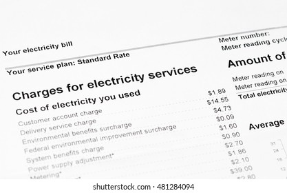 Close up of charges for electricity services on statement