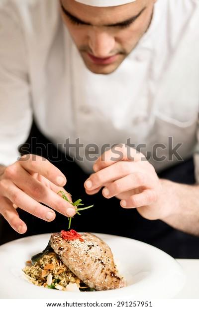 Close Chef Decorating Fish Food Kitchen Stock Photo Edit Now 291257951