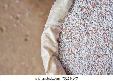 close up chemical Fertilizer in sacks
