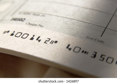 close up of cheque book, focus on number