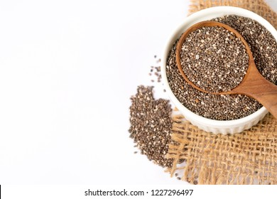 Close up  Chia seeds in wooden spoon , superfood and rich of nutrient an antioxidant