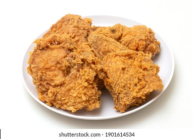 Close up of Chicken Fried Isolated White Background.