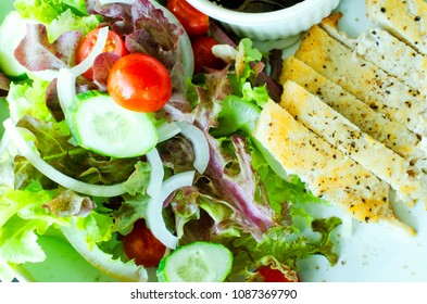 Close up of chicken salad clean food for good health concept