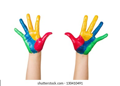 Close up of child hands painted with colorful paint isolated on white background
