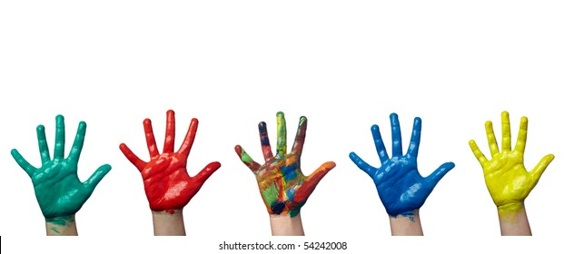 close up of child  hands painted with watercolors on white background. each one is in full camera resolution