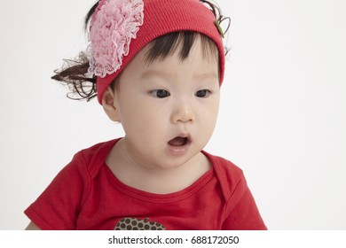 close up of the chinese baby with surprise expression