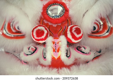 Close up of Chinese lion dance face.