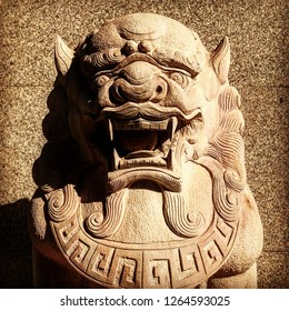 Close up Chinese lion statue