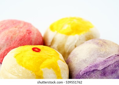 Close up of Chinese Pastry or Moon cake or Mung bean filling cake or Egg yolk shortcake, Asian Traditional Dessert