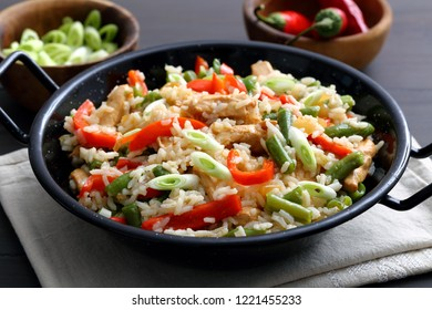 Close up of chinese rice with roasted meat and vegetables